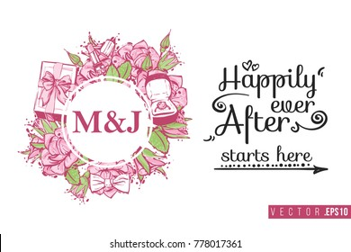 Bridal greeting card with round composition of wedding accessories and text: happily ever after starts here. Tender pink composition for wedding, nuptials, hen-party invitation cards.