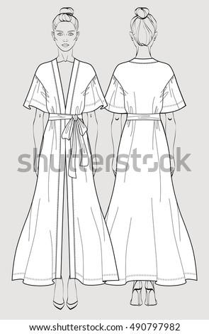 c61a6e9d7b Bridal long robe. Sleeve satin maxi kimono robe. Silk bathrobe for women.  Isolated vector. Front and back views. - Vector
