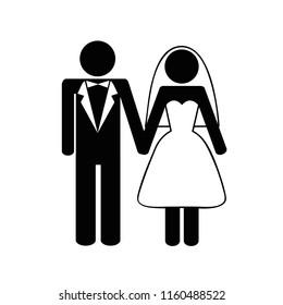 bridal pair man and woman pictogram vector illustration EPS10