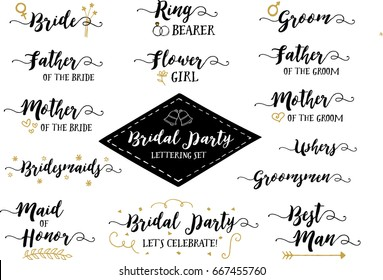 Bridal Party Hand Lettering Phrases Vector Set, Bride, Groom, Father of the Bride, Flower girl, Ring Bearer, Bridesmaids, Groomsmen, Ushers, Maid of Honor, Best Man & More, 14 designs in collection