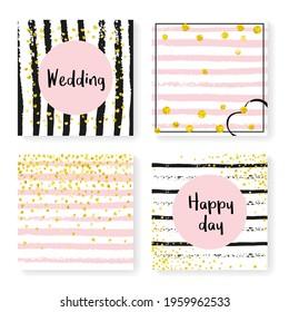 Bridal Pattern. Hand Drawn Illustration Set. Golden Splatter Cover. Scatter Textile. Black Dream Starburst. White Carnival Magazine. Stripe Gatsby Art. Golden Bridal Pattern