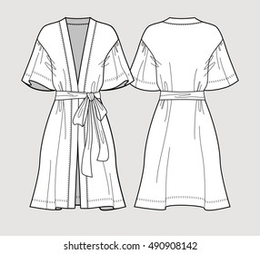 Bridal robe. Sleeve satin kimono robe. Silk bathrobe for women. Isolated vector. Front and back views.