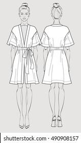 Bridal robe. Sleeve satin kimono robe. Silk bathrobe for women. Isolated vector. Front and back views.