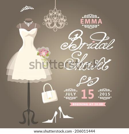 bridal shower cardthe composition of wedding dresses bridal veil bouquethandbags