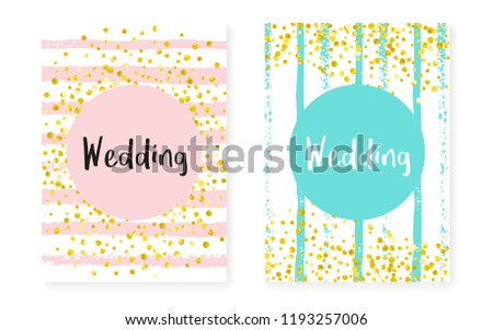 bridal shower card with dots and sequins wedding invitation set with gold glitter confetti