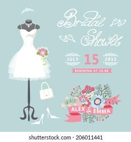 bridal shower card with floral elementsthe composition of wedding dresses bridal veil