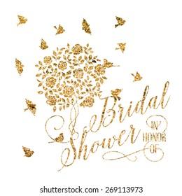 Bridal shower card of golden blooming rose bush. Vector illustration.