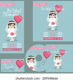 The  bridal shower design template set with cartoon little girl.European baby in bridal dress.Retro style.For Wedding  invitation, postcard,  CD cover,thanksgiving.The vector.