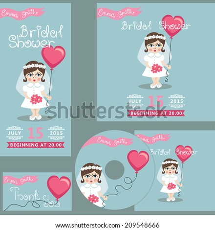 the bridal shower design template set with cartoon little girleuropean baby in bridal dress
