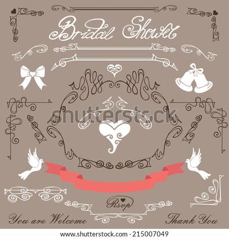 bridal shower design template setswirling decor elementspigeonsribbonsarrows