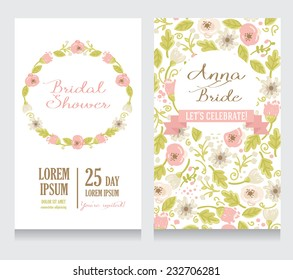 Bridal Shower invitation card, beautiful floral design, vector illustration