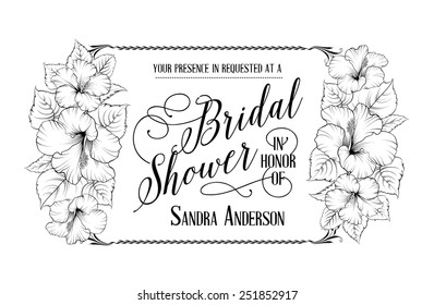 Bridal shower invitation card with hibiscus flowers. Horizontal vector illustration.