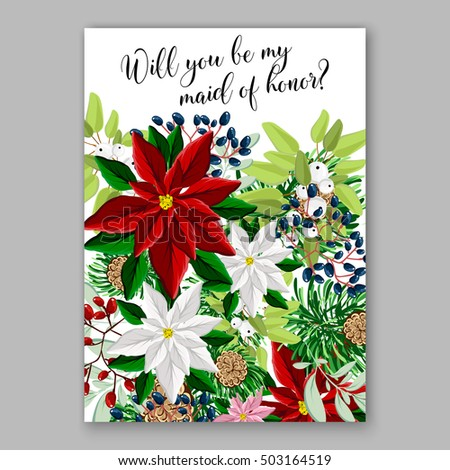 bridal shower invitation card template with winter bridal bouquet wreath flower poinsettia merry christmas party invitation