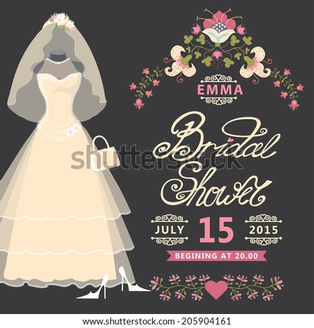 bridal shower invitation card with vintage wedding dress and flowersthe composition of wedding dresses