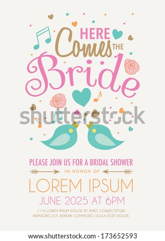 bridal shower invitation featuring the words here comes the bride