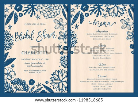 bridal shower invitation and menu set with floral elements vector illustration