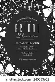 Bridal Shower Invitation on Black Background