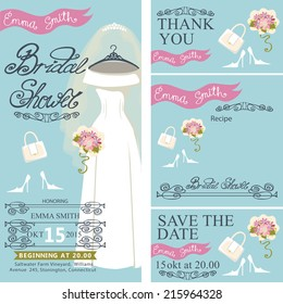 Bridal shower invitation set.Bridal dress with veil and bridal accessories, hand writing text,pink ribbon,swirling border.Dress hanging on hanger.Wedding invitation, cards.Vector