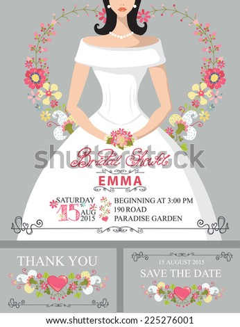 bridal shower invitation setportrait of bride with floral decor hand writing text