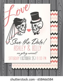 Bridal Shower Invitation with Skulls. Save the date. Wedding illustration. Vector Illustration with Skulls of Bride and Groom.