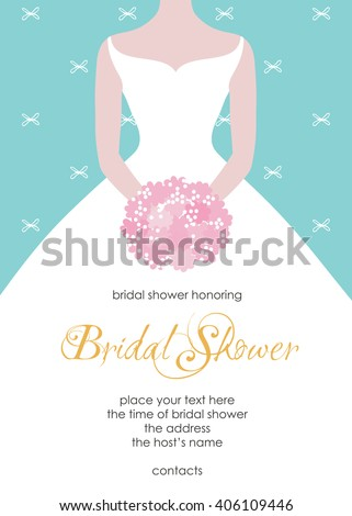 e7f8913b6 Bridal shower invitation template. Beautiful bride with a flower bouquet.