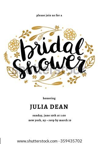 Bridal Shower Invitation Template Floral Bridal Stock Vector