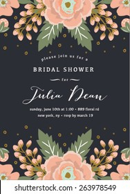 Bridal Shower Invitation Template with Flowers