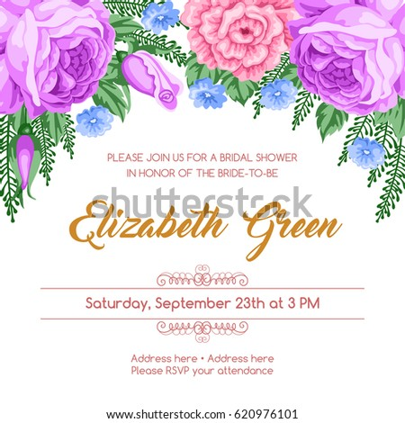 bridal shower invitation template with flowers vector illustration in retro style