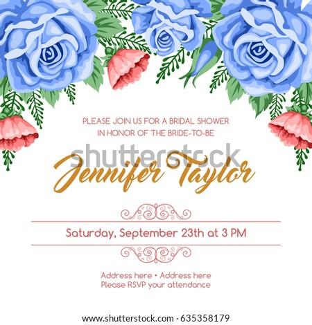 Bridal Shower Invitation Template Flowers Vector Stock Vector