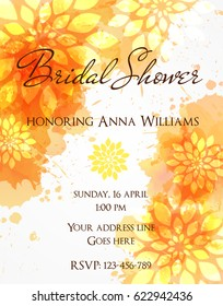 Bridal shower invitation template with orange watercolor splashes and abstract flowers.