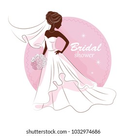 Bridal shower invitation. Young beautiful bride is in an elegant wedding dress. Vector illustration for your design.Invitation, greeting card, template for the bride show.