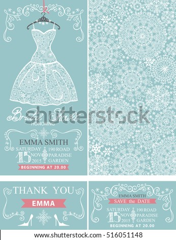 bridal shower invitationsbridal wedding lace dresssnowflakes patternbordersframes