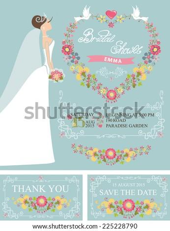 bridal shower setcute cartoon bride in white long dressdecor swirling border