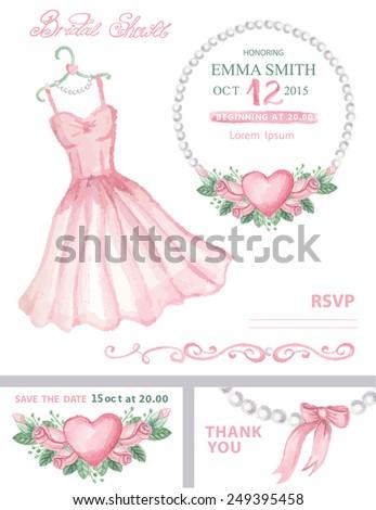 Bridal Shower Template Set Watercolor Wedding Pink Stock Vector
