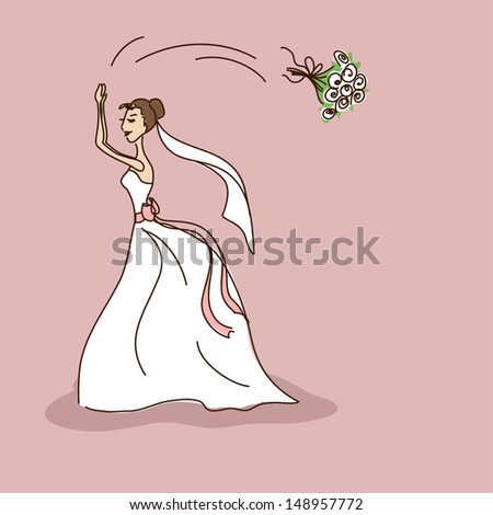 bridal shower or wedding invitation with bride throwing a brides bouquet