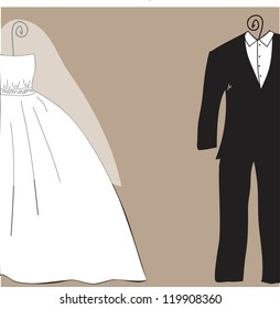 Bridal shower or wedding invitation card with bride and groom clothes