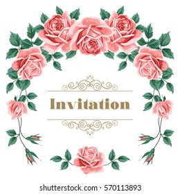 Bridal Shower, Wedding Invitation or Save the Date card template with roses. Vector Illustration.