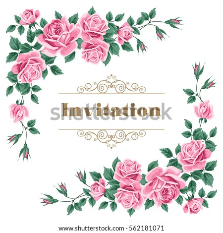 bridal shower wedding invitation or save the date card template with roses vector illustration