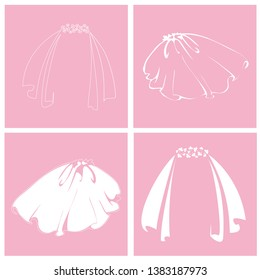 Bridal veil. Set of isolated icons. Vector isolated illustration.