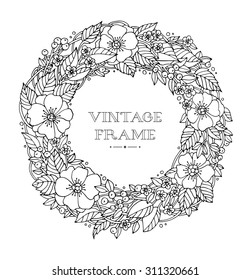 Bridal wreath of forest flowers, wreath for bride. Vector. Hand drawn artwork. Love concept for wedding invitations, cards, tickets, congratulations, branding, boutique logo, label. Black and white