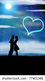 bride and bridegroom in wedding night on the sky background with night