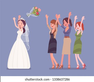 Bride and bridesmaids in bouquet toss tradition on wedding ceremony. Woman in a beautiful white dress throwing flowers on traditional celebration. Marriage customs and traditions. Vector illustration