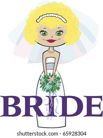 Bride with Curly Blonde Hair Green Eyes