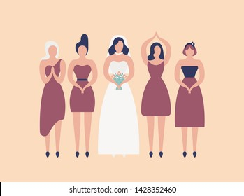 Bride in elegant white gown and bridesmaids isolated on light background. Group of cute girls celebrating wedding day or preparing for ceremony and party. Flat cartoon colorful vector illustration.