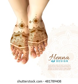 Bride feet coloring with indian henna paste or mehndi design of symbolic tattoos realistic advertisement poster vector illustration