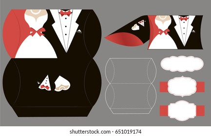 Bride and groom candy die box. Vector diy box template. Tuxedo and bridal dress for wedding. -