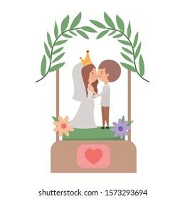 Bride and groom cartoon design, Wedding marriage love celebration invitation and engagement theme Vector illustration