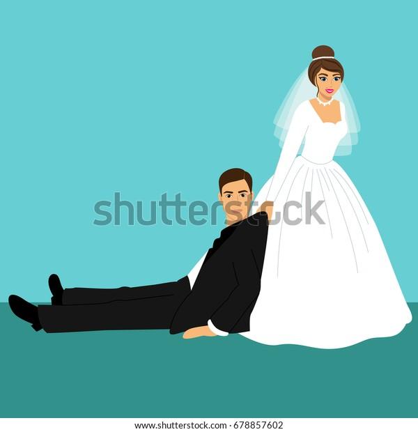 Image Vectorielle De Stock De Mariee Et Mariee Caricature Drole Couple 678857602