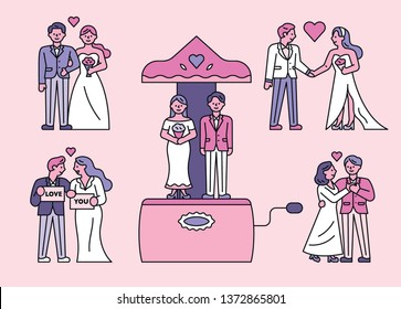 Bride and groom character set. flat design style minimal vector illustration