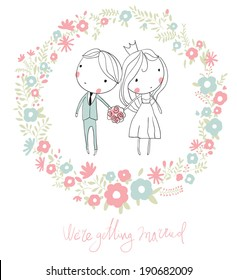 Bride and groom.  Cute vector wedding card with flowers.
